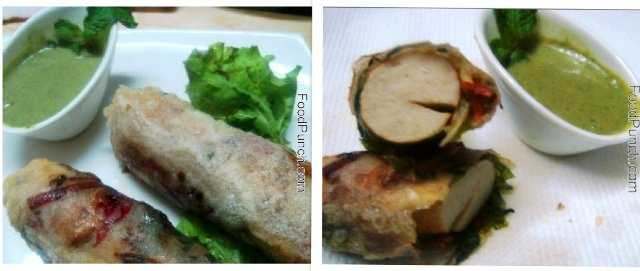 chicken, sausage, spring, rolls, roll, recipe, mint, sour, cream, sauce, dip, fresh, crunch, crunchy, fresh, snacks,snack, fried