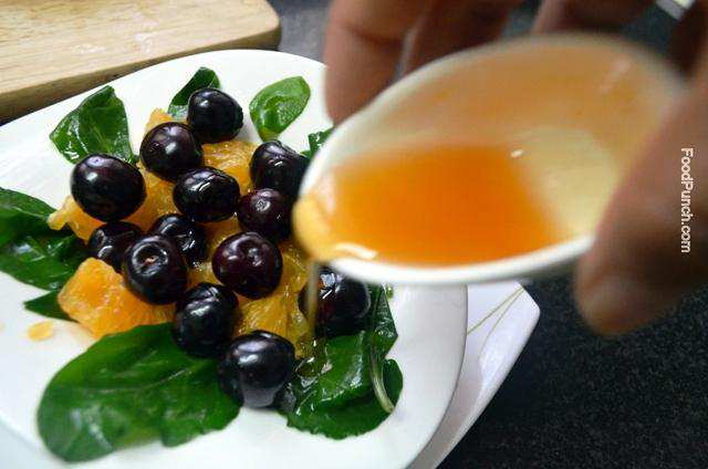 healthy salad, spinach, vegetarian salad, cherry, orange, gluten free, veg salad, hung curd, recipe, recipes