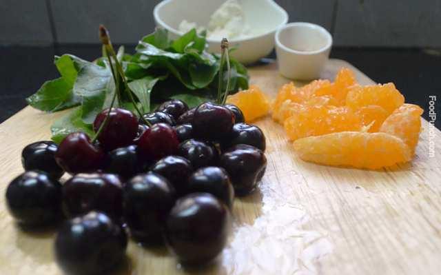 healthy salad, spinach, vegetarian salad, cherry, orange, gluten free, veg salad, hung curd, recipe, recipes