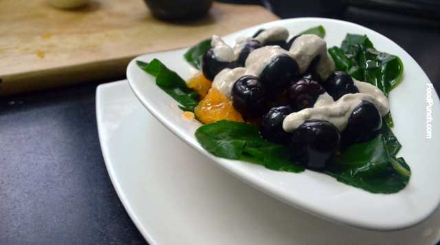 healthy salad, spinach, vegetarian salad, cherry, orange, gluten free, veg salad, hung curd,recipe, recipes
