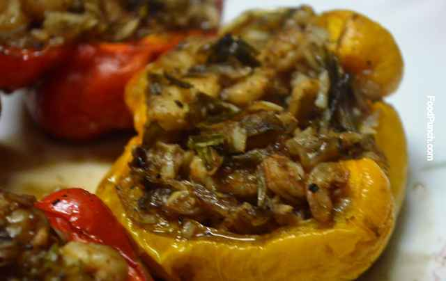 bell pepper, capsicum, recipe, stuffed capsicum, shrimps, prawn, recipes, microwave