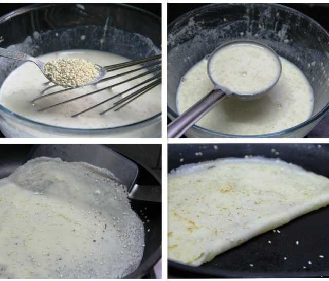 sesame crepes, rice crepes, rice flour crepes, sesame pancakes, breakfast recipe, sweet crepes, recipes, rice pancakes