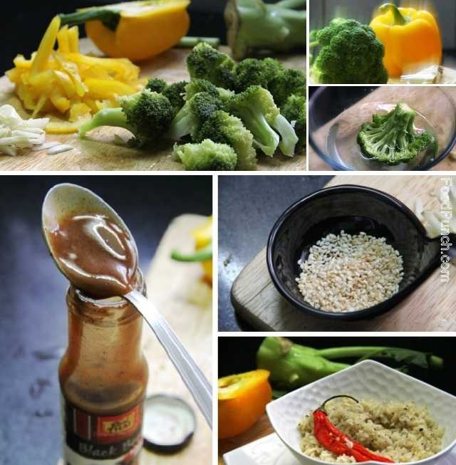 broccoli recipe, stir fry vegetables, vegetables with black bean sauce, Chinese style stir fry, broccoli and bell pepper recipe, veg recipes, vegetarian, side dish, main course,  vegetable in Thai style sauce,