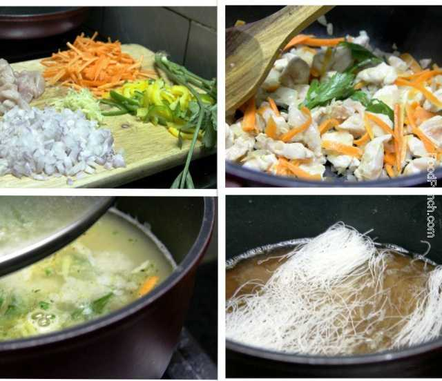 chicken soup recipe, ginger chicken soup, noodle soup recipe, rice noodle recipe, rice vermicelli soup, rice vermicelli recipe, soy chicken soup, soup recipe, chicken recipe, non veg soup, spicy soup, non vegetarian soup