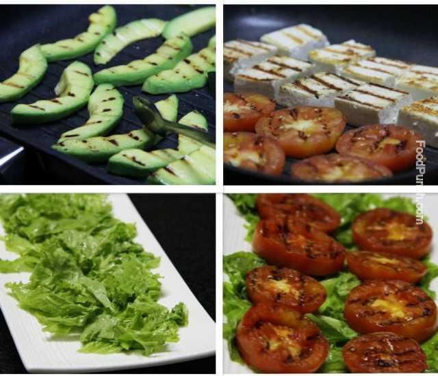 avocado salad, fresh salad, avocado and tomato salad, grilled salad, grilled avocado, cottage cheese and avocado salad, avocado and paneer salad, salad recipe, recipe, salads, veg salad, exotic salad, summer salad, snack recipe, healthy recipe, vegetarian recipe