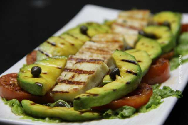 avocado salad, fresh salad, avocado and tomato salad, grilled salad, grilled avocado, cottage cheese and avocado salad, avocado and paneer salad, salad recipe, recipe, salads, veg salad, exotic salad, summer salad, snack recipe, healthy recipe, vegetarian recipe