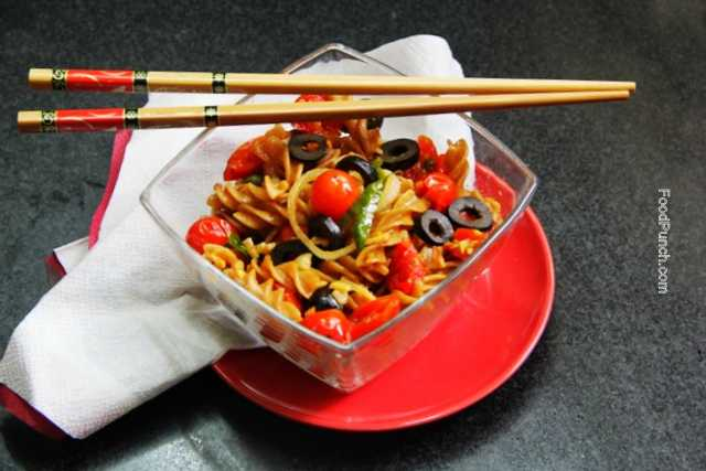 tomato pasta, cherry tomato recipe, whole wheat pasta, fusilli with tomatoes, all wheat pasta, pasta recipe, stir fry pasta, healthy pasta, vegetarian pasta, veg recipe, veg pasta