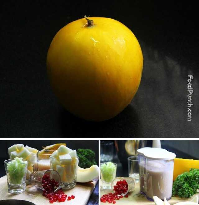 melon gazpacho, gazpacho recipe, mocktail recipe, cold soup, melon soup, canary melon, yellow melon gazpacho, recipes, recipe, fresh drink, summer drink
