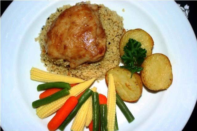 chutney chicken, grilled chicken, baked chicken thigh, chicken with couscous, non veg, non vegetarian recipe