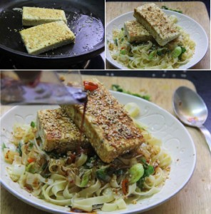 summer salad, sesame salad, sesame tofu and pasta salad, vegetarian salad recipe, pasta salad, paneer and pasta, healthy food, diet food, salad