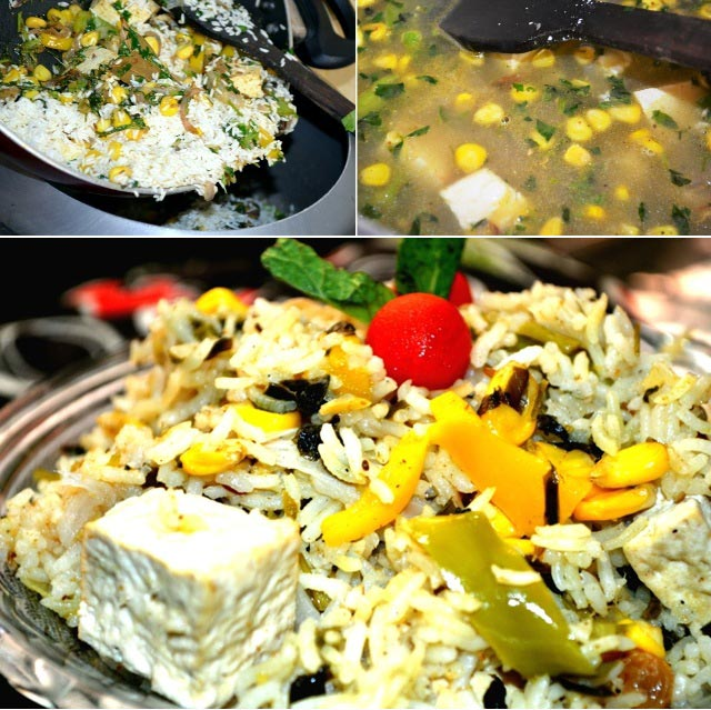 Methi corn pulav, vegetarian pilaf, pilaf recipe,methi pulav, fried rice recipe, fenugreek pulav, makkai pulav, sunday brunch, sunday biryani recipe