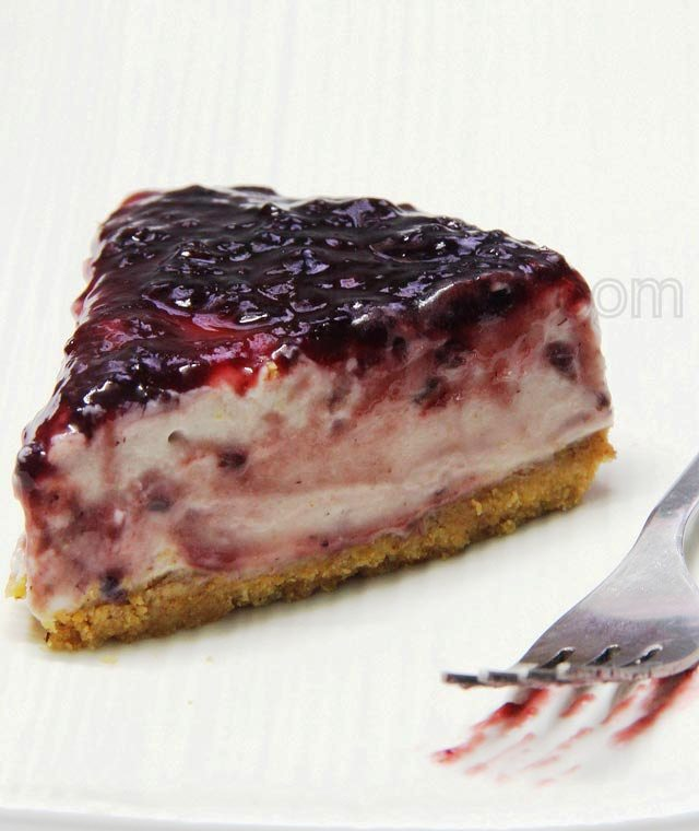 No-Bake Blackberry Cheesecake Recipe: Celebrating 1st blogiversary with my age long Greek Love-affair, A Blackberry Cheesecake.