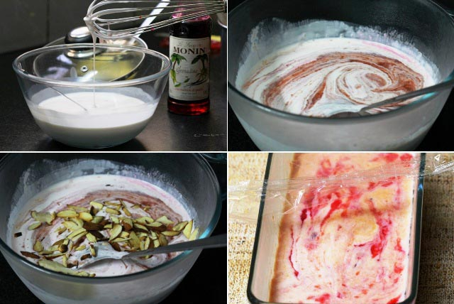 semifreddo,semifredo,plum and almond semifreddo, Italian dessert, frozen dessert, summer dessert, with egg ice-cream, italian icecream, plum icecream, plum frozen dessert, plum recipe, no cooking dessert, freezer dessert