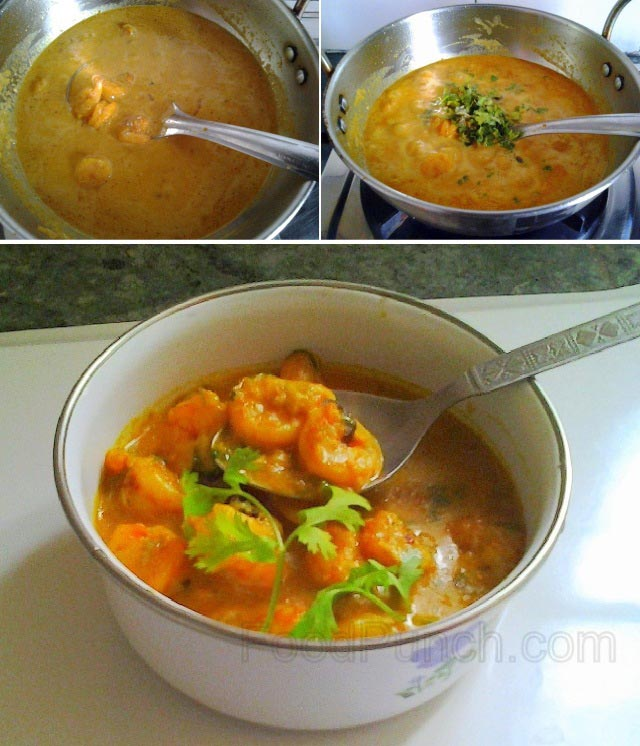 prawn cream curry recipe, jhinga mail curry, jhinga preparation, prawn recipe, indian prawn curry, Bengali prawn recipe, non veg, prawns recipe, non vegetarian