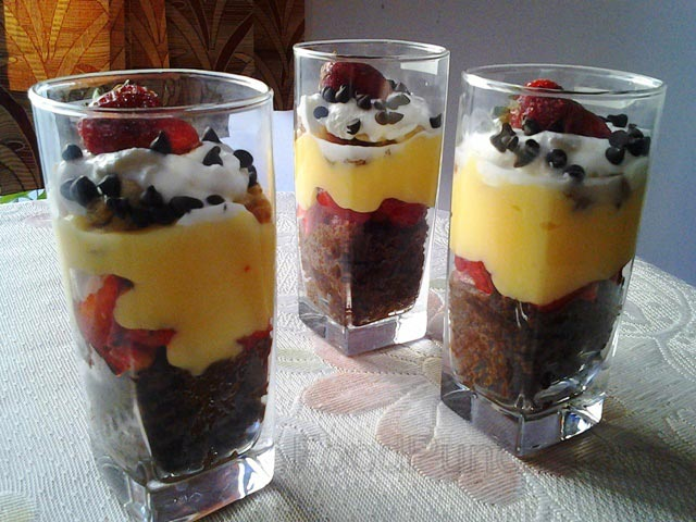 trifle pudding recipe, chocolate cake puding, trifle puding, fruity trifle, trifle recipe, fruity dessert, desserts, pudding recipe, custard dessert
