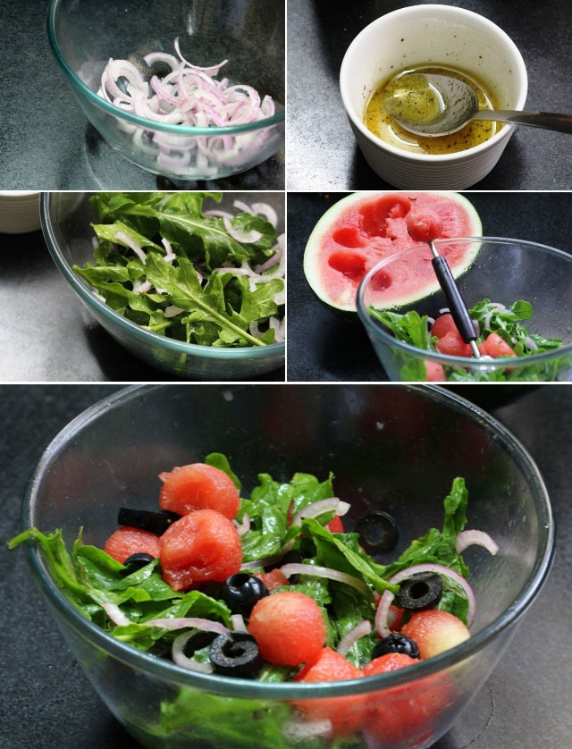 water melon and cheese sald, summer salad, watermelon and ricotta salad with black olives, salad rocket and watermelon recipe, salad, diet food, gluten free, guilt free food, healthy salad recipe, watermelon salad with red onion, salad with healthy dressing, fruit salad