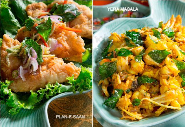 Pla-E-Saan and Yera Masala Recipe, asian recipes, summer menu at The spice route Imperial Delhi, 5 star recipe, summer special recipe, recipe by Chef Veena Arora, Chicken and Prawn recipe, chicken easy fried recipe, crispy chicken recipe, pram stir fry recipe, kerala style prawn, south Indian prawn recipe,