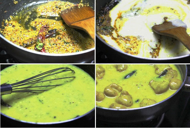 indian kadhi pakoda recipe, kadhi recipe, punjabi kadhi, gujrati kadhi, mahrashtrian kadhi, kadhi badi, indian curd gravy, indian tempered yogurt gravy with dumplings, indian yogurt curry, yogurt curry with dumplings, chickpea and curd curry, chickpea dumplings in gravy, mellow indian gravy, tangy indian gravy, dahi kadhi, dahi pakoda, kadhi , vegetarian recipe, indian veg curry