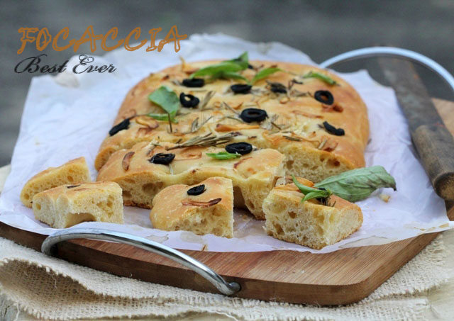 Italian Focaccia Bread With Olive Oil, Rosemary And Garlic Recipe ...