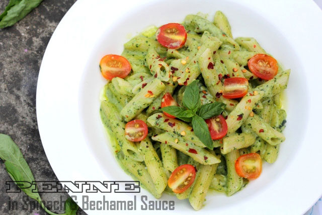 pasta spinachio, pasta in spinach and bechamel sauce, penne paste, paste recipe, penne recipe, pasta in spinach sauc, spinach paste, spinach penne recipe, healthy pasta , spinach recipe, partyrecipe,  restaurant style pasta, sunday brunch recipe, quick pasta , pasta in white sauce, creamy spinach pasta, white sauce and spinach pasta