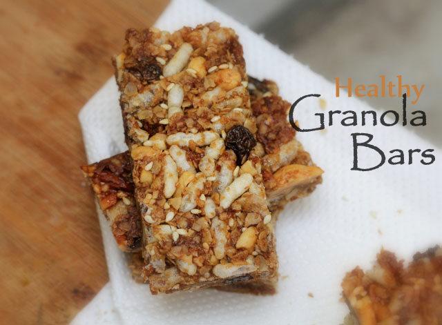 healthy granola bars, homemade granola