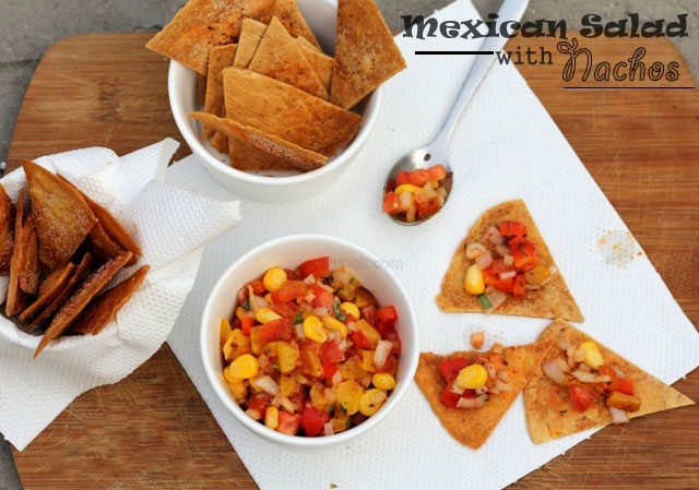 Mexican Nachos, mexican slalad, Nachos and salsa, Mexican salad with nachos