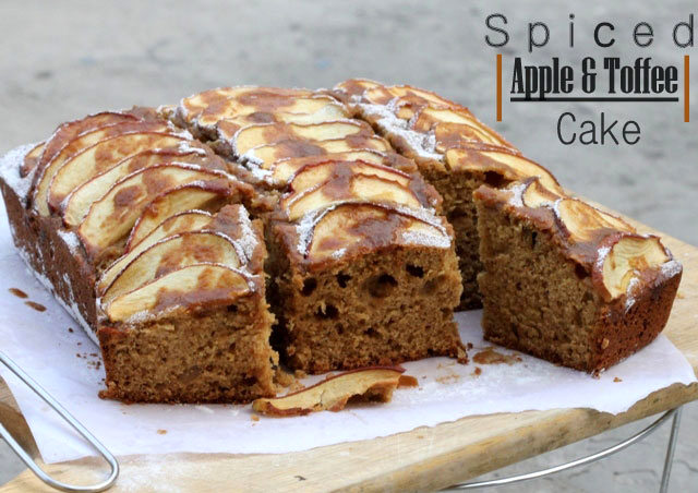 spiced apple and toffee cake, apple cake, spiced cake, cake