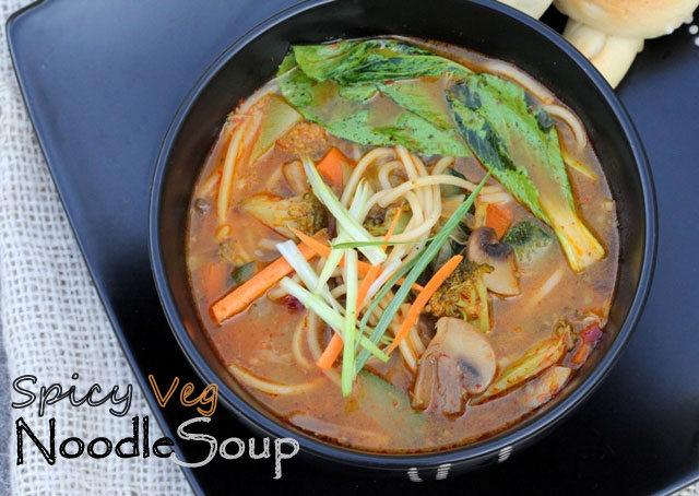 spicy veg noodle soup, noodle soup, vegetarian soup
