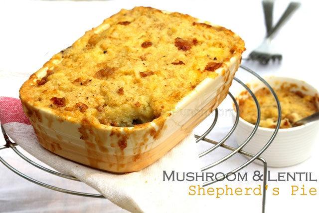 vegetarian shepherd's pie, mushroom and lentil pie, lentil pie, pie, shepherd's pie