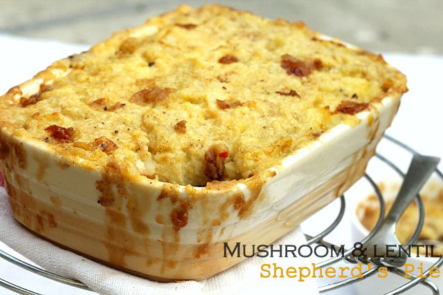 vegetarian shepherd's pie, mushroom and lentil pie, lentil pie, pie, shepherd's pie