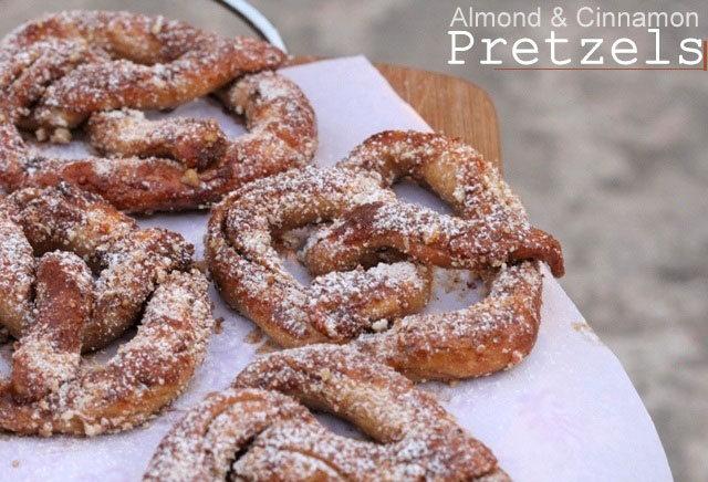 Pretzel recipe, german pretzels, almond and cinnamon pretzels, pretzels