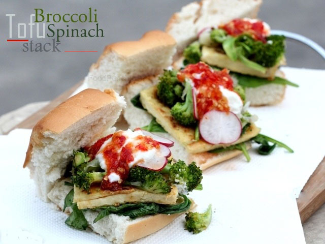 broccoli, tofu and spinach recipe, veg burger, broccoli recipe