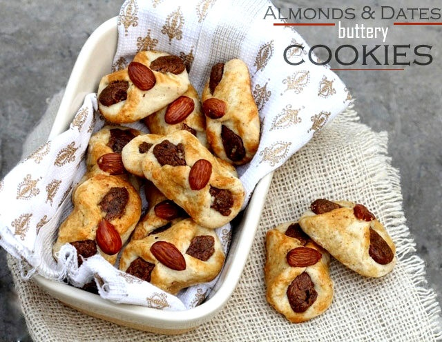 buttery almonds and dates cookies, almonfd cookies, buttery cookies, cookies recipe