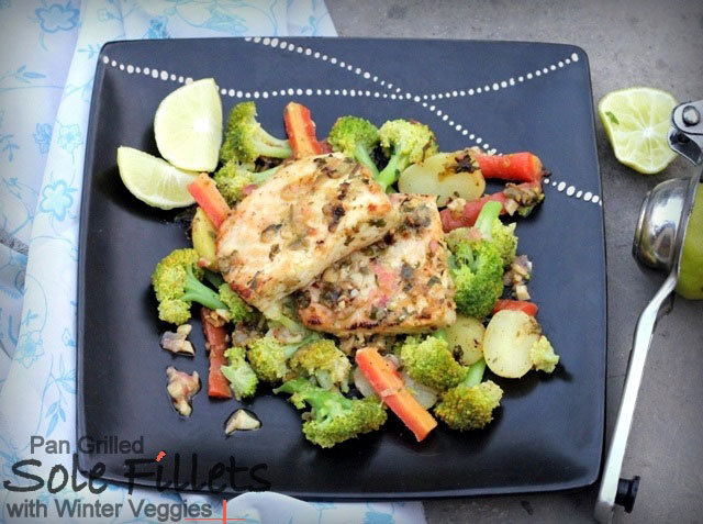 pan grilled sole with winter veggies, grilled fish, sole fish recipe, fish recipe