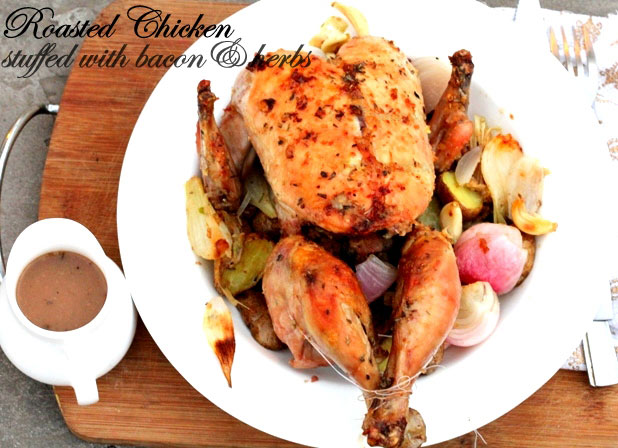 roasted chicken stuffed with bacon and herbs recipe, best chicken recipe