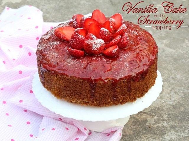 vanilla cake with strawberry topping, spongy vanilla cake, christmas cake, moist cake