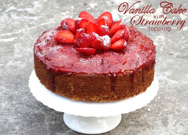 vanilla cake with strawberry topping, spongy vanilla cake, christmas cake, moist cake