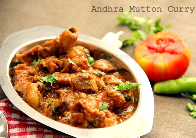 Andhra Mutton Curry, Indian mutton curry, indian mutton stew, mutton in thick gravy