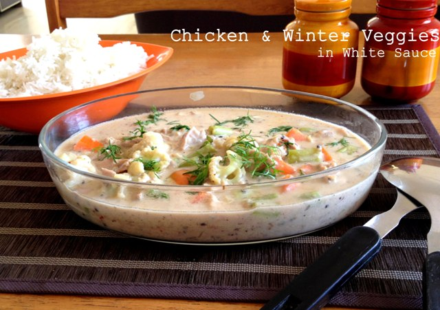 Chicken and winter veggies in white sauce, white sauce vegetables, chicken in white sauce, mixed vgetable