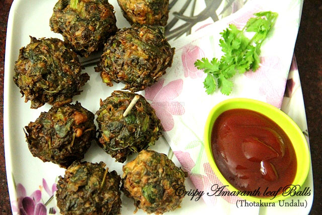 Crispy Amaranth Leaf Balls Recipe, Thotakura Undalu recipe, andhra style snack, amaranth leaf recipe