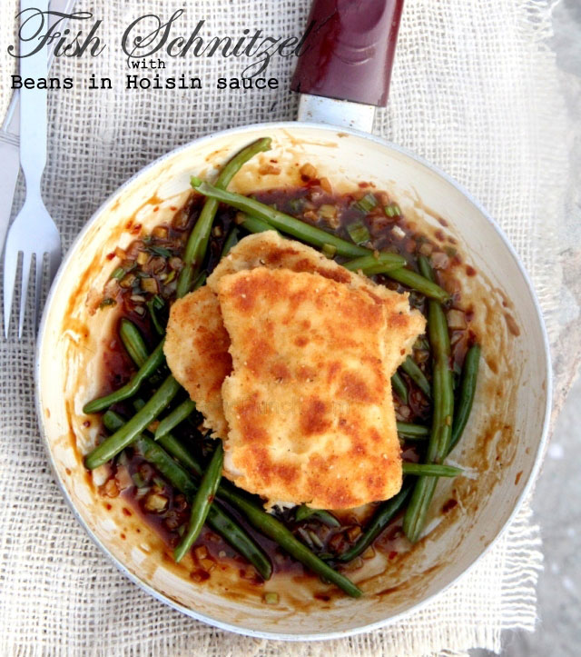 Fish Schnitzel with beans in hoisin sauce, fish schnitzel, crispy fish, beans on hoisin sauce