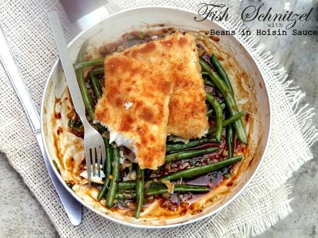 Fish Schnitzel with beans in hoisin sauce, fish schnitzel, crispy fish, beans on hoisin sauce