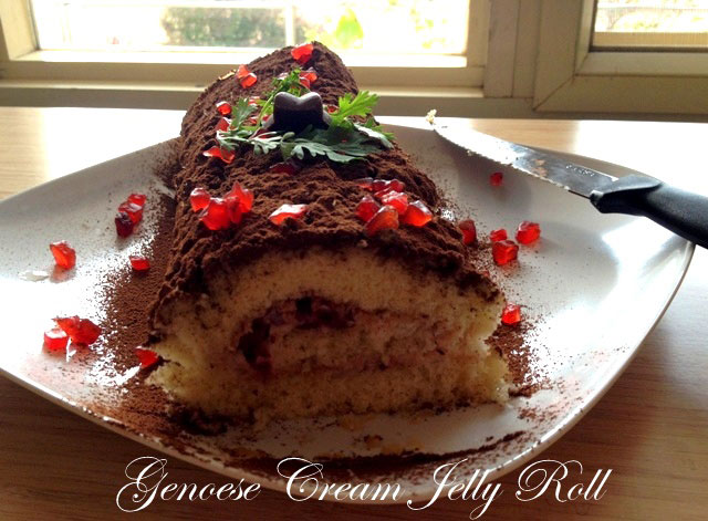 Genoese Cream Jelly Roll, jelly roll cake, spongy cake, jelly roll