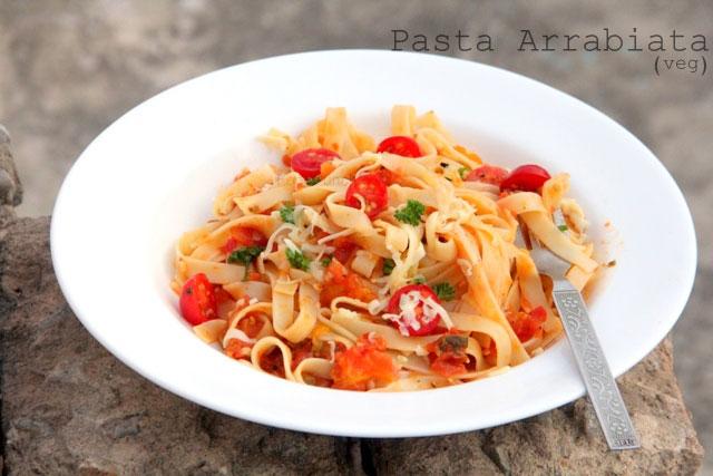Pasta Arrabiata recipe, vegetarian pasta recipe, veg pasta arrabiata, arrabiata sauce