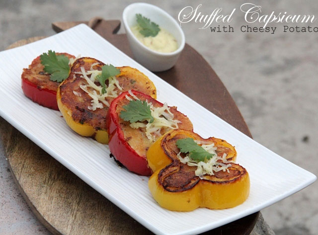 Stuffed Capsicum with Cheesy Potato, stuffed capsicum, stuffed bellpeppers, stuffed peppers, bharwan shimla mirch