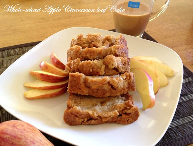 whole wheat apple cinnamon loaf cake recipe, loaf cake, apple cake, wholewheat cake