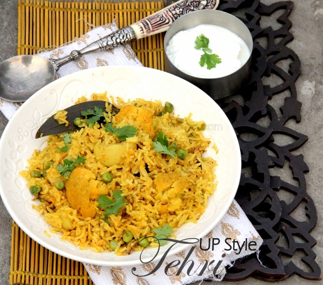 tehri recipe, up style tehri, rice recipe, fried rice, veg biryani