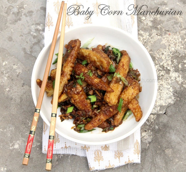 Baby corn manchurian, babycorn chili, indo chines recipe, vegetarian, chinese