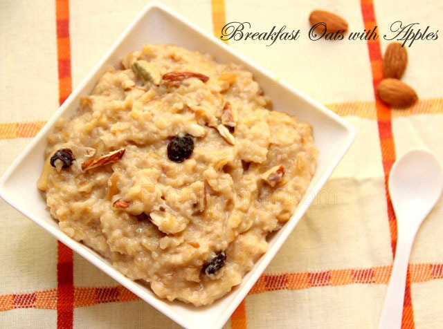Breakfast Oats with Apples recipe, oats recipe, breakfast recipe, healthy recipe