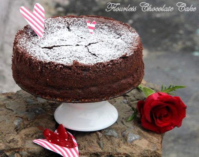 Flourless chocolate cake recipe, gluten free cake, chocolate cake recipe, valentine cake